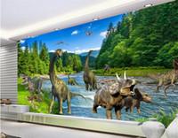 murais de dinossauros de crianças venda por atacado-3d fantasia mural dinossauro jurassic era grande mural para crianças sala de estar sofá quarto tv papel de parede mural papel de parede