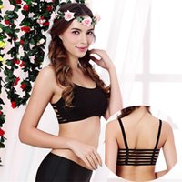Hot Women Sexy Bras Cropped Wraped Tops Conjuntos com oco traseiro Modal Chest Pad Padding superior para melhor Bra Wrap Underwear Vest Chest