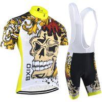 kits de ciclismo al por mayor-BXIO Marca Nueva Llegada Ropa de La Bici Ropa de Ciclismo Promoción de Manga Corta Jerseys de Ciclismo Conjuntos Cremallera Completa Hombres Equipo de Ciclismo Kits 074