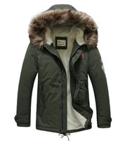 Wholesale Long Jackets Hood For Man - Wholesale- Army Green Parkas Men Warm Mens Parka Jacket with Fur Hood Fashion Casual Wool Winter Long Thick Coat for Men 3 Colors