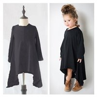 Wholesale Wholesale Clothing Long Skirts Dresses - INS Baby Dress 2017 Autumn Winter Grils Dress Long-sleeved 360 Degree Rotating Skirt Classic Black Gray Elegant Girl Dress Kids Clothing 122