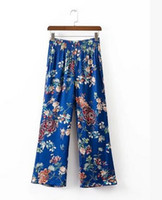 Wholesale Ethnic Pants - women Vintage Full length Trousers 2017 new Ethnic Floral print Blue Wide Leg Pants ladies Elastic Waist Casual loose Long Pants