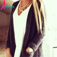 Wholesale mohair knitwear - Wholesale- autumn winter fashion women long-sleeved pockets warm loose casual knitted mohair cardigans sweater coat knitwear
