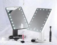 maquillaje negro rosa al por mayor-Rotación de 360 grados Espejo de maquillaje Ajustable 16/22 Leds Iluminado Pantalla táctil LED Espejos cosméticos portátiles luminosos Negro / blanco / rosa