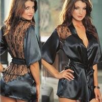 traje de pijama xl al por mayor-Vestido de lencería sexy para mujer Ropa interior Conjunto de traje de pantalón Pijamas de encaje Ropa de dormir para mujer Ropa de noche de bata con cinturón de cintura
