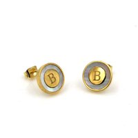 Wholesale christmas earrings online - quality stainless steel earrings Hot Cute Round stud earrings with white shell Good for Christmas Gift