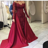 Wholesale Sheer Over Sequin Dress - 2017 Over Skirt Burgundy Evening Dresses Saudi Arabic Lace Appliques Sequins Long Sheer Sleeves with Detachable Train Prom Gowns