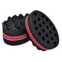 Wholesale Hair Holes - Oval Double Sided Flat Large Hole, Wavy Small Hole Magic twist hair brush sponge, afro curly weave dreads sponge brush