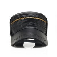 Wholesale black leather baseball caps mens for sale - Group buy Leather cap baseball cap in Autumn and Winter outdoor mens tourist cap slide fastener