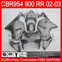 Wholesale Honda 954 Fairing Black - Body For HONDA CBR900RR CBR954 RR CBR954RR 02 03 CBR900 RR Matte black 66HM9 CBR 900RR CBR 954 RR CBR 954RR 2002 2003 Fairing kit 8Gifts