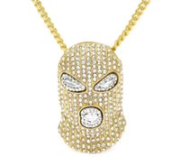 Wholesale Top Style Mask - Top sale new arrival Hip Hop Full CZ Rhinestone CSGO Pendant Necklace Mens Punk Style Alloy Gold Silver Color Mask Head Charm Pendant Chain