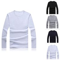 Wholesale Wholesale El Shirts - Wholesale- Men Slim Fit Long Sleeve Shirt Solid T-shirt Tee Shirt Casual Round Neck Top