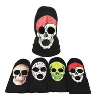 Wholesale cool skull designs - 4 Designs Halloween Horror Skull Knitted Headband Ghost Mask Cosplay Vicious Hat Cool Demon Winter Beanies CCA7097 100pcs