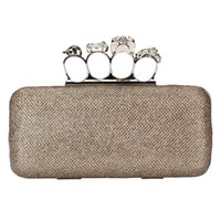 Wholesale Champagne Finger Clutch - 2017 Hot Sale Crystal Skull Head Finger Ring Formal Party Clutch Glittering Prom Wedding Evening Grab Bag