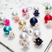 Wholesale Earrings Chrysanthemum - New Korean Mixed Color Chrysanthemum Flower Double Studs Earrings Pearl Earring Jewelry Party Weeding Gift for Women
