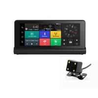 автомобильный удаленный dvr оптовых-4G зеркало автомобиля DVR рекордер с 1080P WIFI Дашкам 7-дюймовый GPS навигатор пульт дистанционного монитора смарт Android 5.1 Bluetooth двойной объектив
