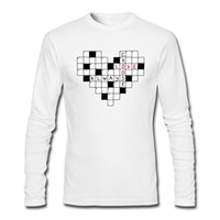 Wholesale Puzzle Blue - Crossword puzzle mens print t-shirt creative boys designed long sleeves tshirts top quality cotton fabric male clothing choose love, always