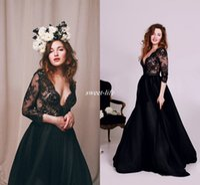 Wholesale Unique Wrap Wedding Dresses - 2017 Lace Beach Wedding Dress with Long Sleeve Sexy Plunging Deep V Neck Illusion Bridal Dress Unique Vintage Black Victorian Gothic Gowns