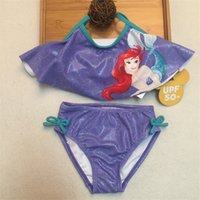 Wholesale Kids Sun Protection Swimsuit - Retail The Little Mermaid two pieces rash guard kids Mermaid bikini swimsuit girls sun protection anti-uv swimwear
