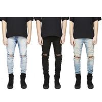 Wholesale Men S Comfortable Jeans - Wholesale-Fashion Style Men Ripped Jeans Classic Denim Fabric Destroyed Male Pants Elastic 3 colors Hiphop Comfortable Stretch Trousers