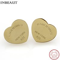 Wholesale Color Stud Earrings - INBEAUT Trendy Lover Heart Letter Stud Earrings for Women Luxury Gold-color Letter US Fashion Style Classic Wedding Jewelry