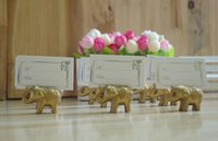Wholesale Wedding Menu Cards - 20pcs Gold Elephant Name Number Menu Table Place Card Holder Clip Wedding Baby Shower Party Reception Favor