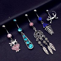 Wholesale Gothic Piercing - New Arrival Hollow owl gecko fish Belly Button Rings Sexy Body Piercing Bars Piercings Navel Piercing Gothic Jewelry