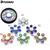 Wholesale Colorful Big Diamonds - New arrival Colorful love Fidget Spinner Metal 6leaves diamond flower hand spinners for Decompression Toys EDC Autism ADHD Stress Relief Toy