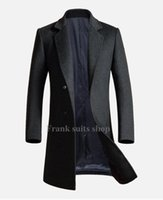 Wholesale Made Windbreaker - Wholesale- Custom made 2017 Europe Style Black Men Wool Coats Winter Long Casual Windbreaker Slim fit Men Woolen Coats
