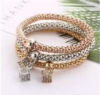 Wholesale Tri Suits - Fashion Bracelets new Western Colorful Geometric Square Pendant Bracelet Alloy Tri Color Set