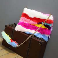 Wholesale Handbag Real - Real rabbit fur bag women luxury 2017 color stripe day clutches winter korean handbags chain shoulder bag large clutch hand bag