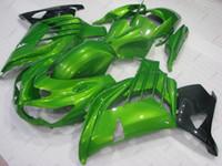 zzr carenados verde al por mayor-Carenado ABS ZZR 1400 12 13 Kits de carrocería Zx14 Zx-14r 2015 Kits de carenado negro verde ZZ-R1400 2012 2012 - 2015