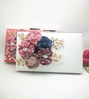 Wholesale Envelope Zipper Clutch Wholesale - Pearl Flower Clutch Bags Evening Handbag Classcal Ladies Shoulder bag Simple Purse fashion massager lock wallets