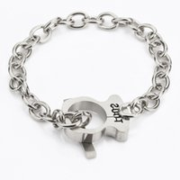 TL Stainless Steel Charm Bracelet Bear Jóias Alta qualidade Hot Selling 2 Colors Europe Never Fade