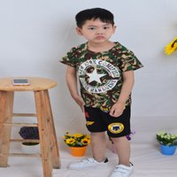 Wholesale Coat Handsome - Boys Short Sleeves Tee Fashion Leisure Handsome Standard White Camouflage Coat Round Neck Cotton Blends Geometric No Cap