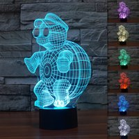 Wholesale Turtle Lamp Kids - Wholesale- Hot!!2016 New Turtle 3D Night Light Colorful Gradient Lights LED Table Lamp Acrylic lampara Kids Lighting Toys Bedroom Decorate