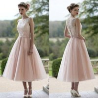 Wholesale Lace Prom Dress Modest - 2017 New Pink Short Beach Bridesmaids Dresses Bateau Lace Tea Length Modest Plus Size Summer Maid of Honor Party Prom Gowns Cheap Custom