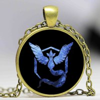 Wholesale Mystic Necklace - New Poke GO Team Valor Instinct Mystic Logo Necklaces 20 Inch Antique Bronze Gemstone Necklaces High Quality Jewelry For Women And Men Fans