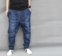 Wholesale Large Chiffon Pants - Wholesale- Men Blue Denim Pants Jeans Large Harem Baggy Trousers Tapered Hiphop Casual