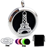 Wholesale Stainless Steel Necklace Eiffel - Roud Silver The Eiffel Tower Design (30mm) Essential Oils Diffuser Locket with Chain Aromatherapy Diffuser Locket Necklace