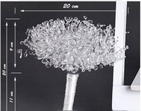 bouquets acryliques achat en gros de-Mariage Blanc Bouquet De Mariée Mariée Tenant Acrylique Fleurs Fleurs De Mariage Bouquets Artificiels Strass Bouquet De Mariée Livraison Gratuite