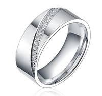 8mm Silvery Cubic Zirconia Inlay Eternity Ring Titanium Matching Set Wedding Band 6-13 #