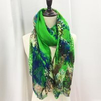 Wholesale Embroidery Silk Scarves - 100% Green silk flower scarf fabric for garment scarves shawls dresses embroidery new fashion free shipping