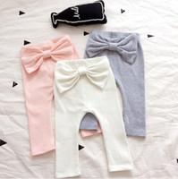 Wholesale Wholesale Kids Clothing Europe - Baby Girls Pants Kids Clothing 2017 Autumn Bow Cotton Pants Europe and America Fashion Clothing HX-390