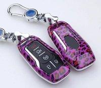 Wholesale Carbon Fiber Key Case - Leopard Carbon Fiber key cover case For Ford Mondeo Mustang Taurus Key Case Protector