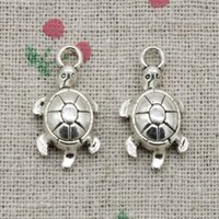 Wholesale Sea Turtle Necklace Pendant - 80pcs Charms tortoise turtle sea 23*12mm Antique Silver Pendant Zinc Alloy Jewelry DIY Hand Made Bracelet Necklace Fitting