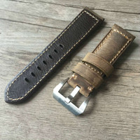 старинные большие часы оптовых-Оптовая продажа-ручной работы 22 мм 24 мм старинные коричневый Италия телячья кожа ремешок, ретро ремешок для часов и большие часы, Бесплатная доставка