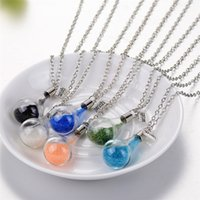 Wholesale Glass Container Pendant Necklaces - Wishing Bottle Necklace Candy color DIY drift glass bottle pendant bead decorative container jewelry cute fashion jewelry 162275