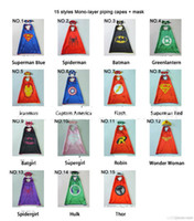 Wholesale Cape Styles - 15 styles one-layer 70*70CM Super hero Capes and mask set Superhero cosplay capes+mask Halloween cape mask for Kids 2pcs set