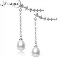 Wholesale Fancy Pearl Earrings - YouNoble real natural freshwater pearl 8-9mm clip-on earrings,fancy 925 sterling silver hanging earrings birthday for women white pink